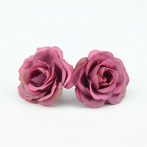Block Rose China Garden (Heads Orchid 10Pcs 3Cm Mini Rose Cloth Artificial Flower For Wedding Party Home Room Decoration Marriage Shoes Silk Flower Wine red)