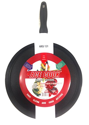 Ace Cook Specialty Nonstick Giant Round Pancake Griddle Cookware, 13-Inch, Black (Non Stick 13 Inch Round Griddle)