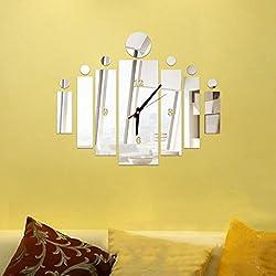 DEESEE(TM) Removable Diy Acrylic 3D Mirror Wall Sticker Decorative Clock (Silver)