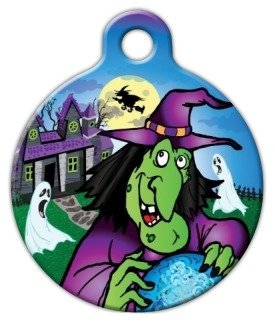 Spooky Halloween Witch Pet ID Tag for Dogs and Cats - Dog Tag Art - SMALL SIZE