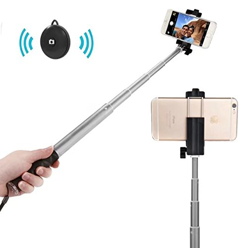 Bluetooth Selfie Stick with Tripod, APPHOME Aluminum Extendable Monopod with Wireless Remote Shutter Adjustable Phone Holder for iPhone 7 Se 6s 6 Plus Samsung Galaxy S6 Note 5 4 Android, Orange by Apphome