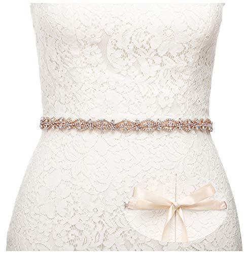SWEETV Crystal Bridal Belt Rhinestone Wedding Dress Belt Sash Headband for Bride Bridesmaid, Rose Gold