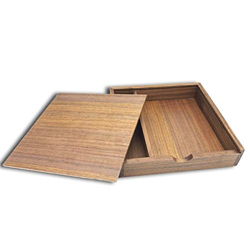Wood Gift Box with Sliding Top, JBOS Discrete Sliding-Lid Wooden Boxes USB Box, Photo Box, Wedding Memory Box, for Friends/Business Partners/Photographers/Clients (Walnut, 6.73x6.73x1.38inch)