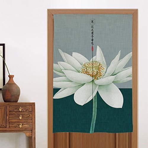 YURASIKU Chinese Style Noren Half Open Door Curtain Lotus Pattern Partition Kitchen Tapestry Screens Hanging Doorway Drape Valance