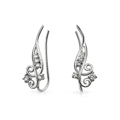 - CZ Swirl Wire Ear Pin Climbers Crawlers Earrings For Women For Teen Round Cubic Zirconia 925 Sterling Silver
