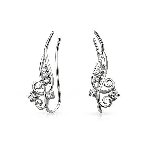 Bling Jewelry Modern Swirl 925 Sterling Silver CZ …