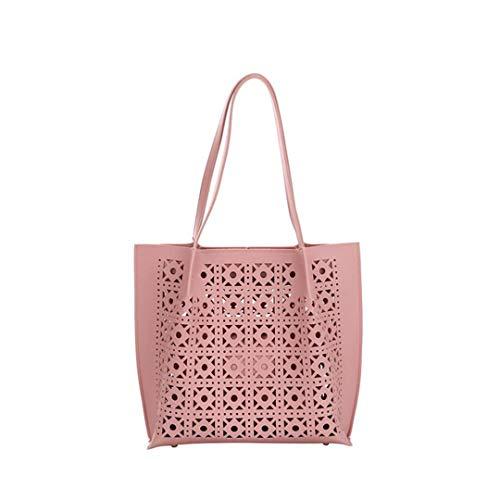 2PCS/SET Soft PU Leather Bag Hollow Out H bag Ladies Shoulder ping Bags pink