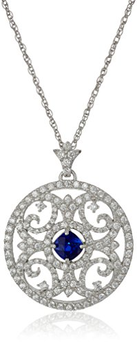 (Sterling Silver Created Blue Sapphire and Cubic Zirconia Mosaic Pendant Necklace, 18