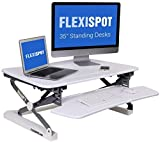 "FlexiSpot M2W Standing Desk Riser - 35"" Wide Platform Height Adjustable Stand up Desk Computer Riser with Removable Keyboard Tray (Medium Size White)"