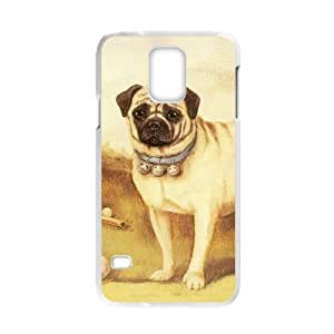 Cute Pug Dog Personalized Custom Phone Case For Samsung Galaxy S5 (Laser Technology) Plastic Hard Case Cover Skin
