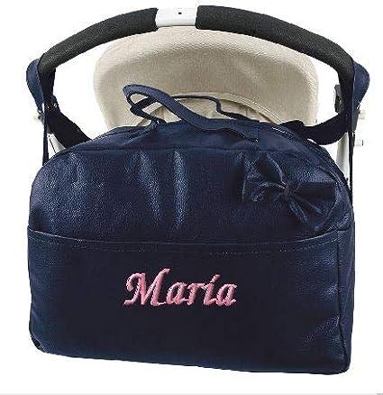 mibebestore - Bolso Polipiel Carrito Bebe Personalizado con nombre bordado MARINO - Nombre bebé bordado (envío 2/3 días laborables)
