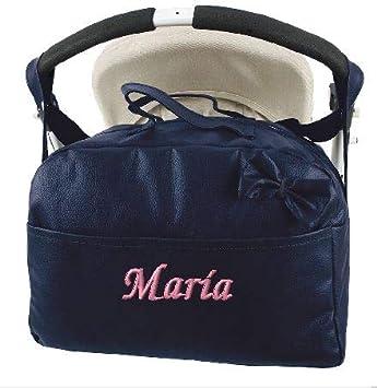 mibebestore - Bolso Polipiel Carrito Bebe Personalizado con nombre bordado MARINO - Nombre bebé bordado (envío 2/3 días laborables): Amazon.es: Bebé
