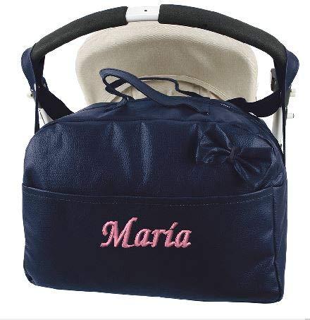 mibebestore - Bolso Polipiel Carrito Bebe Personalizado con nombre bordado MARINO - Nombre bebé bordado (