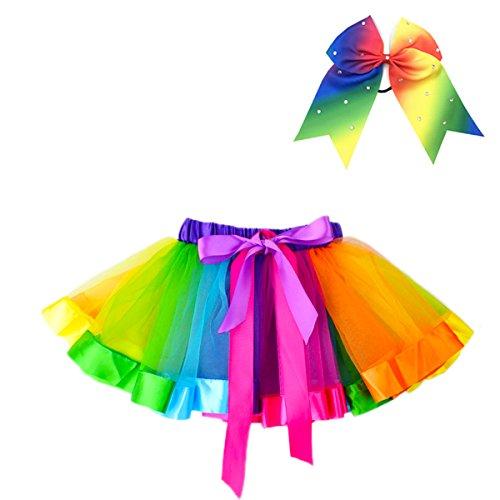JiaDuo Girls Layered Rainbow Tutu Skirt Dance Ruffle Hair Bow Elastics M
