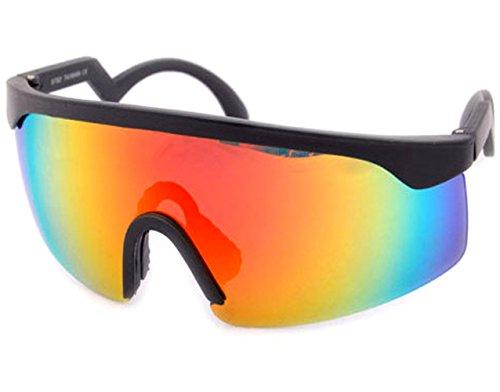 80's Vintage Neon Splattered Wrap Sunglasses (Black - Sunglasses Brodie
