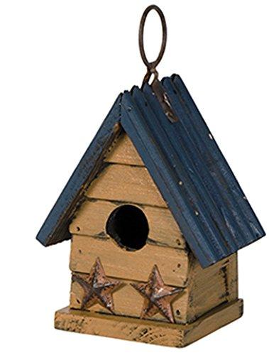 Miniature 5 x 5 Metal and Wooden Indoor Outdoor Birdhouse (Blue (Blue Metal Roof)