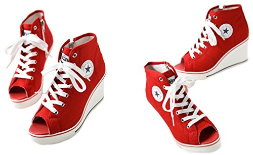 Sneaker Canvas JiYe Women's Shoes Heeled F High Pump red Fashion XgR5q