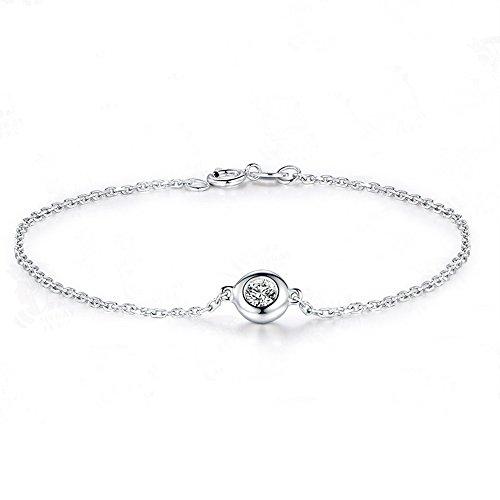 0.2ct Natural Round Cut Diamond Solid 14k White Gold Bracelet Bangle Infinity Chain Bezel