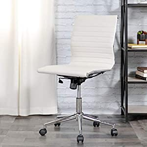 Flash Furniture Mid-Back Armless Ribbed Upholstered Leather Conference Chair