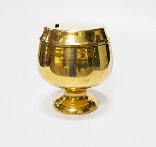 Thai Gold Cup Mini Monk's Alms Bowl Brass Piggy Bank Save Money Donate
