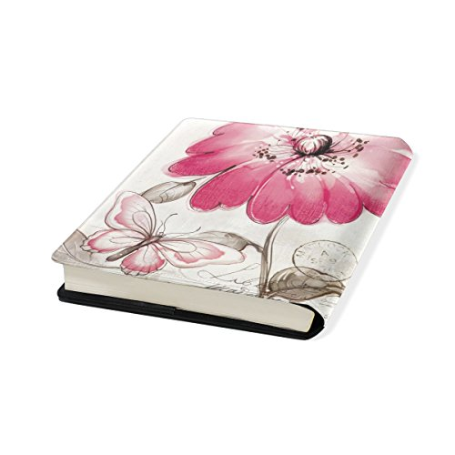 Flower Stretchable Leather Book Covers Standard Size for Student Hardcover Textbooks Fits up to 9x11-Inch for School Girls Boys Gift