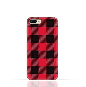 Apple iPhone 7 Plus TPU Silicone Case with Red and Black Plaid Fabric Design