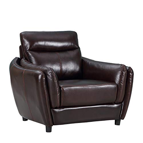 Blackjack Furniture 9778-BROWN-CH Troy Classic Top Grain Leather Living Room Armchair, 42