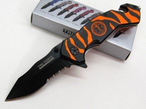 (New TAC-FORCE Orange ZEBRA STRIPE Assisted EMT RESCUE Glassbreaker Belt Cutter ProTactical'US - Limited Edition - Elite Knife with Sharp Blade)