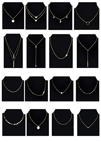 (Tornito 16PCS Layered Choker Necklace for Women Girls Multilayer Chain Pendent Necklace Y Necklace Cross Bead Bar Star Moon Pearl Necklace Gold Tone)