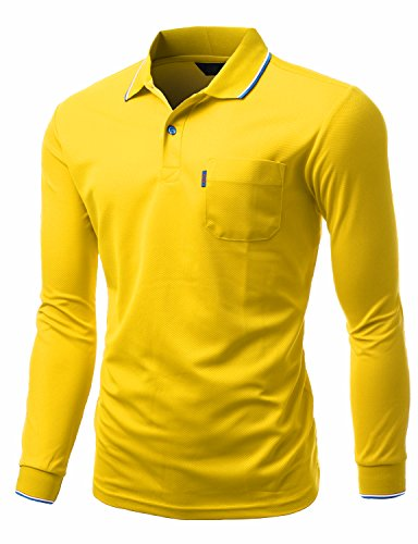 Xpril Men's Comperterble Collar Polo Long Sleeve Pocket point T-shirt YELLOW size XL - Yellow Collar Polo T-shirt