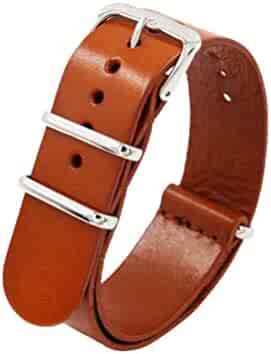 HEMOBLLO 22mm Vintage Leather Watch Strap Replacement Watch Band for Most Kinds Watch (Brown)