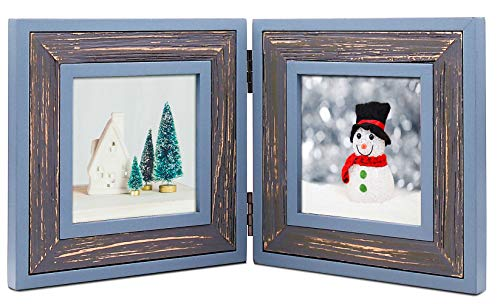 (ZingVic Double Folding 4x4 Cyan-Darkgray Wood Picture Frame with Glass Front - Weathering Wood Finished - Stands Vertically on Desktop or Table Top)