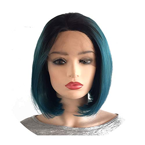 Short Bob Black Roots Ombre Dark Blue Green 2Tone Wig High Temperature Fiber Blue Mixed With Green Synthetic Lace Front Wigs,Ombre Blue,130%,Lace Front,10Inches ()