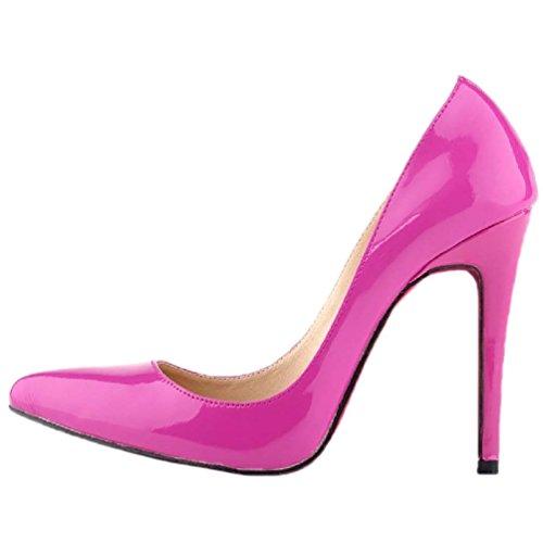 HooH Damen Spitz Zehe Stiletto High Heel Pumps Rote Sohle Violett