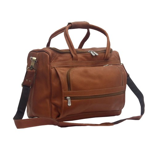 Piel Leather Small Computer Carry-All Bag, Saddle, One Size by Piel Leather