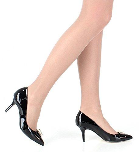 Elegante Pumps Damenschuhe schwarz Lack Leder Modell D00722 Mailand
