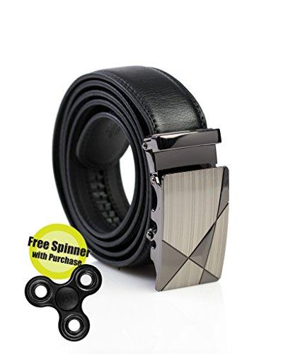 Mens Premium Leather Dress Belt (Mens Genuine Leather Dress Belt - Automatic Sliding Buckle Ratchet Belt, Adjustable Track Belt, Platinum Hanger -)
