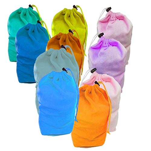 "10 Pack Big Size 10.6"" x 8.6"" Velour Pouch Bags with Drawstring, Colorful Sacks with Drawstring Closure for Birthday Party Favors, Snacks, Decoration, Shoes, Gifts, Toys and Games, Event Supplies"