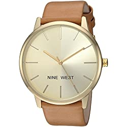 Nine West Women's NW/1996CHCM Gold-Tone and Caramel Colored Strap Watch