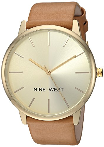 Nine West Women's Gold-Tone and Caramel Colored Strap Watch
