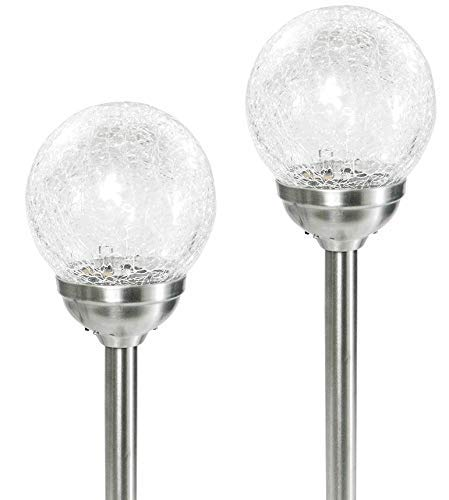6 Large Stainless Steel Solar Crackle Glass Ball Path Lights Color Changing LED:New by WW shop