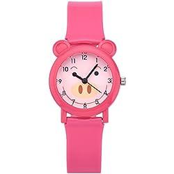 Zeiger New Fashion Girls Kids Children Time Teacher Easy Read Watch Ages 5 - 7, Cartoon Pig Silicon Band (Pink) KW071