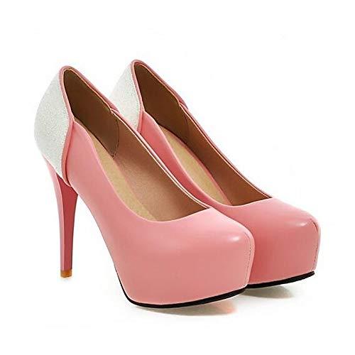 Black Spring ZHZNVX Poliuretano Blanco PU Mujer Rosa Heels Stiletto de Comfort Heel Negro xx71qH