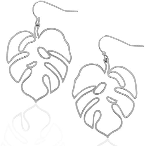 Humble Chic Monstera Leaf Earrings - Tropical Palm Plant Lightweight Boho Dangling Statement Drop Dangles, Small Silver-Tone ()