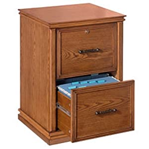 Realspace(R) Premium Wood File, 2 Drawers, 30In.H X 21In.W X 18 9/10In.D, Oak