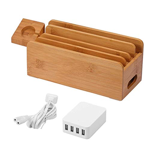 Charging Station, Multi Device Bamboo Charger Dock Organizer with 4 USB Port, Smart Fast Charge Stand for iPhone X/8/7/7Plus/6, Apple Watch, Samsung & Smartphones, iPad, Tablet, etc