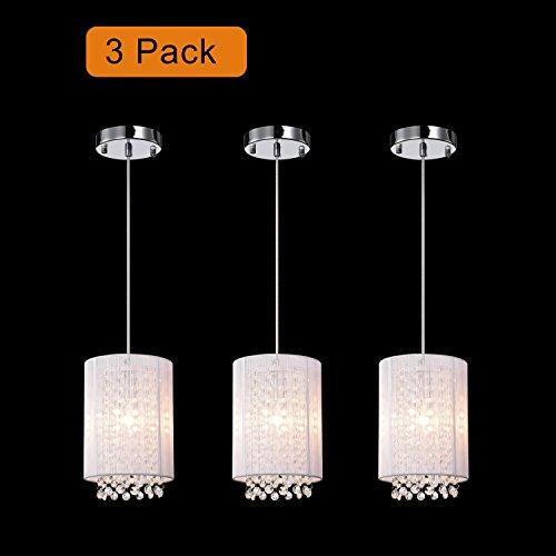 LaLuLa Crystal Pendant Lighting White Modern Chandeliers 1 Light Ceiling Lights Set of 3 For Sale
