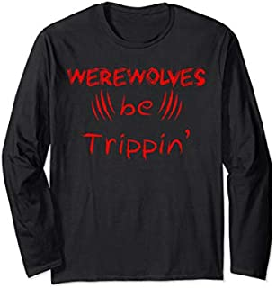 Halloween Trick Treat Werewolves Tripping Long Sleeve T-shirt | Size S - 5XL