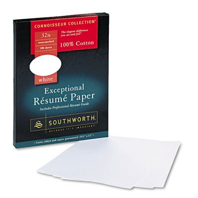 Southworth 100% Cotton Resume Paper, White, 32 lbs, 8-1/2 x 11, Wove, 100/Box