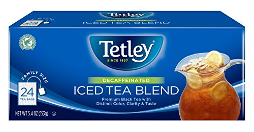 Decaf Tea Tetley (Tetley Black Tea, Decaffeinated Iced Tea Blend, Family Size, 24 Square Tea Bags (Pack of 6))